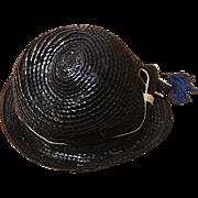 Vintage Design Lady Pennington Exclusive Black Straw Hat Circa 1960