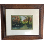 American Artist Signed Mahogany Framed Watercolor Painting Circa 1970's