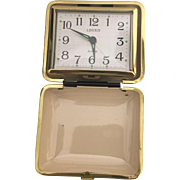 Vintage Japanese Linden Travel Alarm Clock with illuminated Display