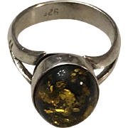 Vintage Sterling 925/1000 Silver with Amber Center Stone