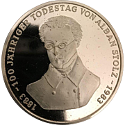 Collectible German Silver 1000/1000 rg Medallion  Commemorating Von Alban Stolz of Buhl Baden