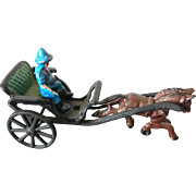 Early American Hand Painted Cast Iron Horse Drawn Carriage and Rider