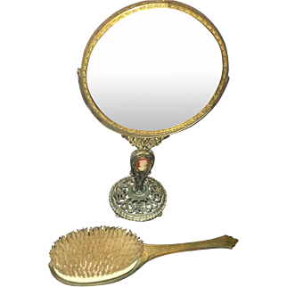 Vintage Art Deco Style Ladies Vanity Set Bronze Carved Gilded Mirror and Matching Brush