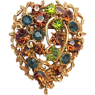 Vintage Costume Brooch with Multicolored Crystals signed Coro