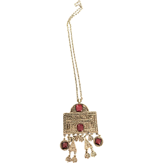 Native American Costume Link chain and Pendant decorated with Red Stones  Circa 1970's