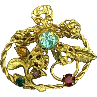 Vintage Azub Austria Detailed and Crafted Costume Brooch with Colored Rhinestones