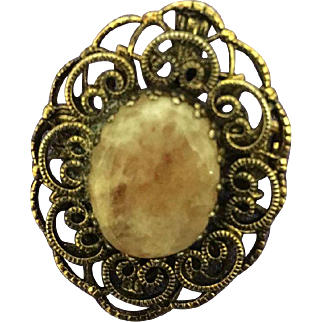 Vintage Victorian Style Carved Bronze Brooch with Rose Quartz Center Stone