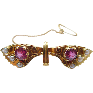 Vintage Arts & Crafts 18ct Gold Butterfly Brooch 1 carat of Natural Rubies