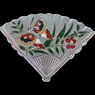 Unusual Victorian Aesthetic Period Silver & Enamel Fan Pendant Brooch Hallmarked Birmingham 1887