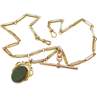 Art Deco 9ct Gold Double Watch Albert Chain or Necklace 33g Plus Spinner