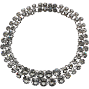 CHRISTIAN DIOR Vintage Grey Crystal Double Riviere Necklace - Signed