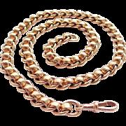 Antique Victorian 9Kt Rose Gold Albert Watch Chain Bracelet Necklace - Heavy