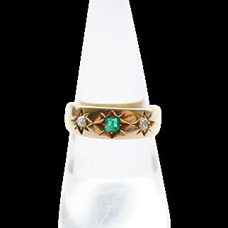 Art Deco 18K Gold Emerald and Diamond Ring London 1933 - UK N US 7