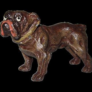 "Vintage Miniature Painted Metal Bull Dog Marked Germany 3"" x 2 1/8"" x 1 3/8"" NICE"