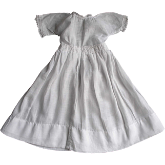 Antique White Doll Dress with Lace Trim