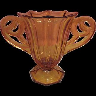 Beautiful Amber Czechoslovakia Glass Vase