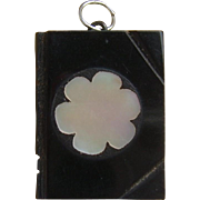 Victorian Carved Whitby Jet Book Charm Pendant with Mother of Pearl Inlay