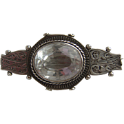 Antique Victorian Solid Silver Scottish Crystal Cabochon Brooch
