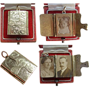 Late Victorian Family Miniature Photo Album Book Like Opening LOCKET with Photos