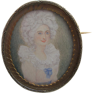 Hand Painted Regency Lady Portrait Miniature Brooch AFTER Richard COSWAY