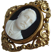 Victorian Hardstone Onyx Cameo of CECIL RHODES in Swivel Locket Brooch