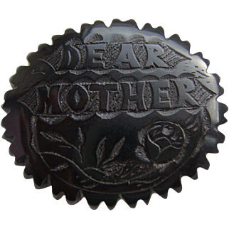 RARE Large Victorian Whitby Jet Hand Carved 'DEAR MOTHER' Mourning Brooch Pin