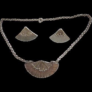 Vintage English Designer Sterling Silver Fan Necklace Earrings Set JHM Sheffield 1995/7