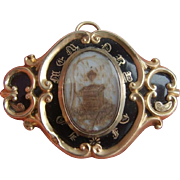 Antique Victorian Gold BF Black Enamel Memento Mori MOURNING Hair Locket Brooch
