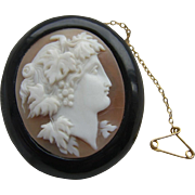 Victorian Whitby Jet & Carved Shell Baccante Maiden CAMEO Brooch & Safety Chain