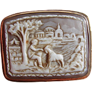 Antique 9ct GOLD Mounted Hand Carved SHELL Cameo Brooch Unusual Bucolic Scene