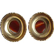 Antique VICTORIAN Pair of Polished Brass & Scottish Carnelian AGATE Ring Pin Dishes