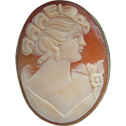 "Vintage 2"" LARGE 1950's Shell Cameo Lady Portrait in Fine 800 SILVER Brooch"