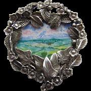 Vintage 1993 Art Nouveau Style Miniature Painting SILVER Brooch Pendant 33.87g