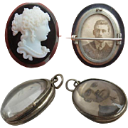 Victorian Whitby Jet CAMEO Brooch & Rock Crystal Bubble LOCKET ... Same FAMILY