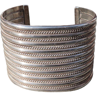 Vintage Native American Wide Sterling Cuff by Tahe
