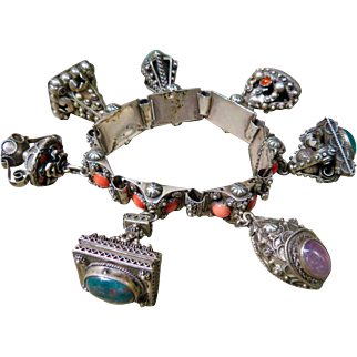 Vintage Etruscan Charm Bracelet with Coral 800 Silver