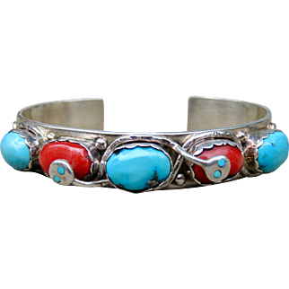Vintage Native American Effie Calavaza Turquoise and Coral Cuff