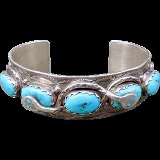 Vintage Native American Effie Calavaza Turquoise Cuff