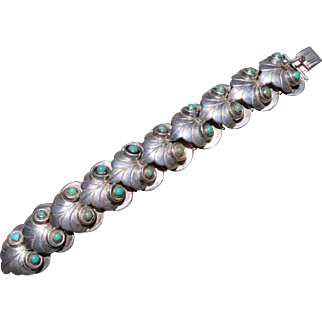 Vintage Taxco Silver and Turquoise Bracelet