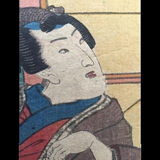 Ukiyo-E 19th C Japanese Woodcut by Kunisada Toyokuni III