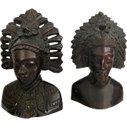 Balinese Carved Rosewood Portraits of Man and Woman