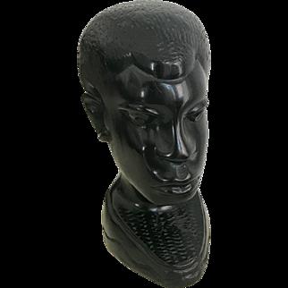 Vintage African Wood Bust Sculpture