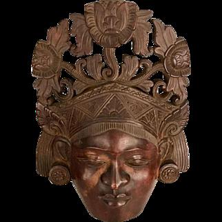 Vintage Balinese Rosewood Mask Sculptural Portrait