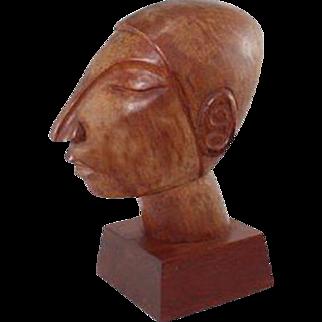 Cubist Carved Wood Sculpture Portrait Bust by Jose Pinal