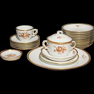Vintage Porcelain Brown Rose and Gold 51 Piece Dinnerware Set by Royal Copenhagen 1954