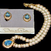 Vintage Oscar de la Renta Jewellery Set (Necklace and Clips)