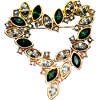 Vintage Heart Brooch/Pin Decorated with Coloured Crystals Signed Monet 1980-s