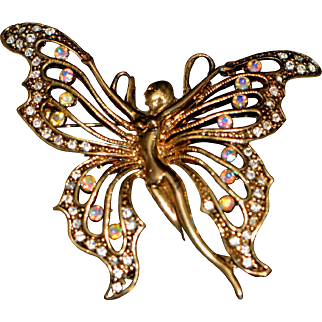 Vintage Huge Woman Butterfly Pin/Brooch Art Nouveau Style Unsigned 1970-s