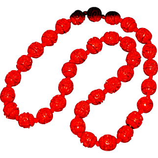 Vintage Red Tone Chinese Cinnabar Carved Necklace Hand Carved Unsigned 1950-s