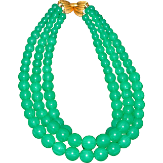 Vintage Green Lucite Beaded Necklace made of three strands Unsigned 1950-s